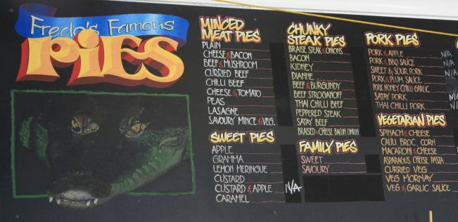 something for everyone - even good selection of vegetarian pies...