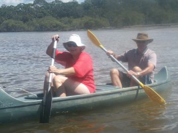 Mum and Dad in the canoe - no room for me so I had to swim....