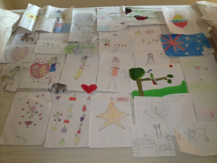 just a selection of the drawings and painting the kids gave me