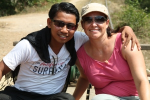 Jimmy and I on the bamboo train in Battambang