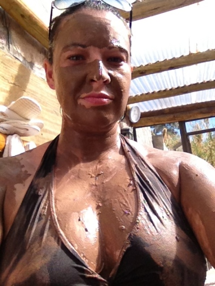 the beauty regime - mud is surprisingly 'restrictive' once it dries!